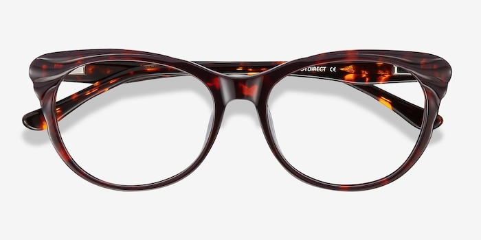 Mariposa Red Tortoise Acetate Eyeglass Frames from EyeBuyDirect, Closed View