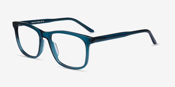 Ballast Green Acetate Eyeglass Frames from EyeBuyDirect, Angle View