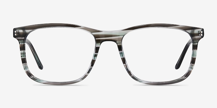 Ballast Gray Striped Acetate Eyeglass Frames from EyeBuyDirect, Front View