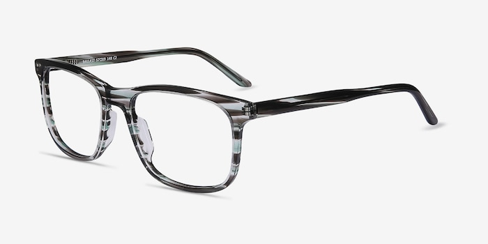 Ballast Gray Striped Acetate Eyeglass Frames from EyeBuyDirect, Angle View