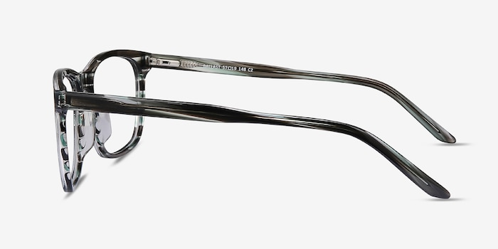 Ballast Gray Striped Acetate Eyeglass Frames from EyeBuyDirect, Side View