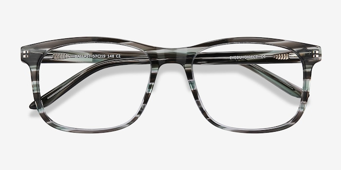 Ballast Gray Striped Acetate Eyeglass Frames from EyeBuyDirect, Closed View