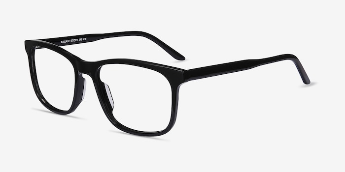 Ballast Black Acetate Eyeglass Frames from EyeBuyDirect, Angle View