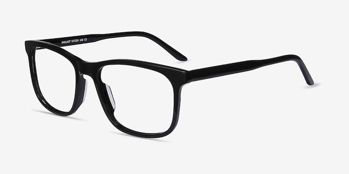 Ballast Noir Acétate Montures de Lunettes d'EyeBuyDirect, Vue d'Angle