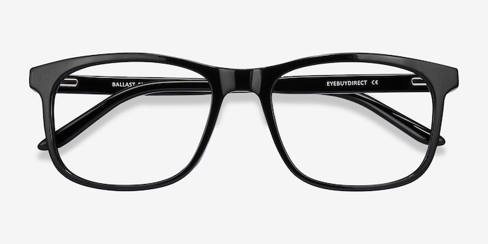 Ballast Black Acetate Eyeglass Frames from EyeBuyDirect, Closed View