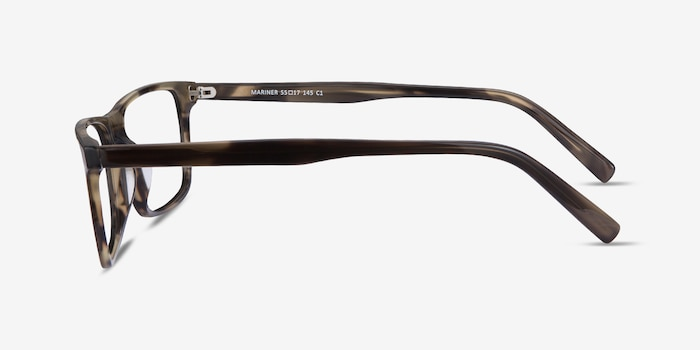 Mariner Gray Striped Acetate Eyeglass Frames from EyeBuyDirect, Side View