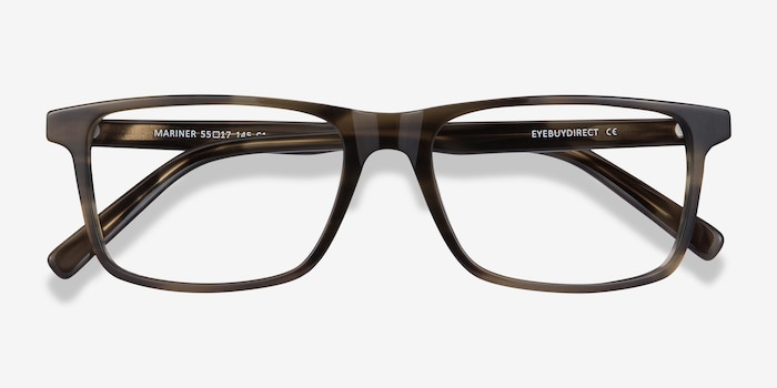 Mariner Gray Striped Acetate Eyeglass Frames from EyeBuyDirect, Closed View
