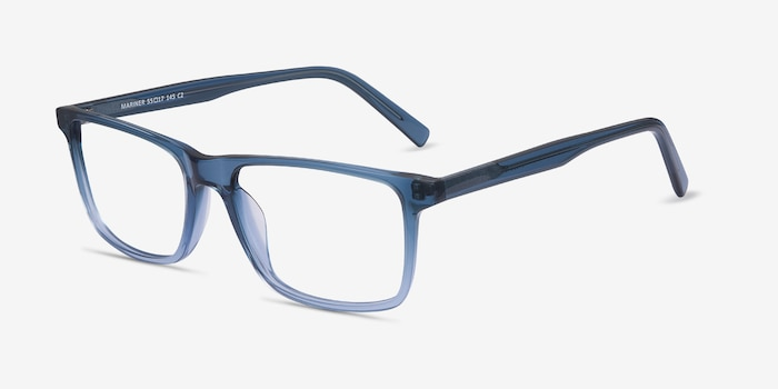 Mariner Clear Blue Acetate Eyeglass Frames from EyeBuyDirect, Angle View