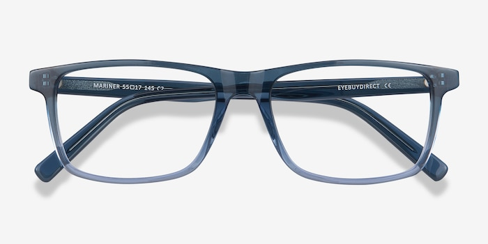 Mariner Clear Blue Acetate Eyeglass Frames from EyeBuyDirect, Closed View