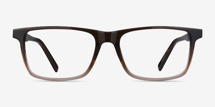 Mariner Clear Brown Acetate Eyeglass Frames from EyeBuyDirect, Front View