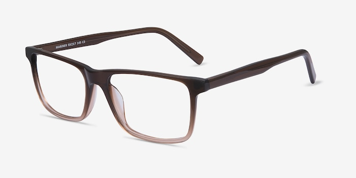 Mariner Clear Brown Acetate Eyeglass Frames from EyeBuyDirect, Angle View