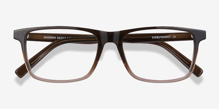 Mariner Clear Brown Acetate Eyeglass Frames from EyeBuyDirect, Closed View