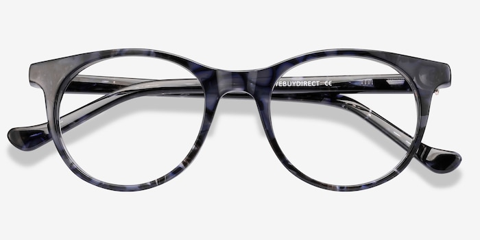 Delle Gray Floral Plastic Eyeglass Frames from EyeBuyDirect, Closed View