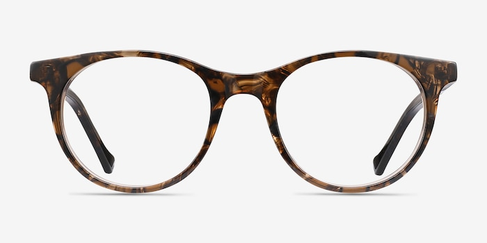 Delle Brown Floral Plastic Eyeglass Frames from EyeBuyDirect, Front View