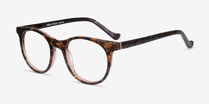 Delle Brown Floral Plastic Eyeglass Frames from EyeBuyDirect, Angle View
