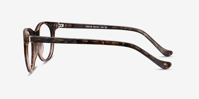 Delle Brown Floral Plastic Eyeglass Frames from EyeBuyDirect, Side View