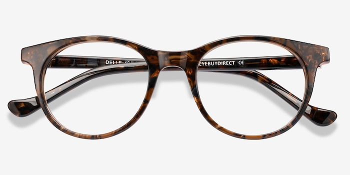 Delle Brown Floral Plastic Eyeglass Frames from EyeBuyDirect, Closed View