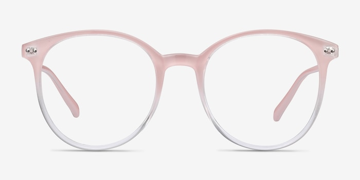 Noun Pink Plastic Eyeglass Frames from EyeBuyDirect, Front View