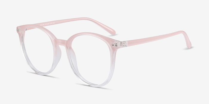Noun Pink Plastic Eyeglass Frames from EyeBuyDirect, Angle View