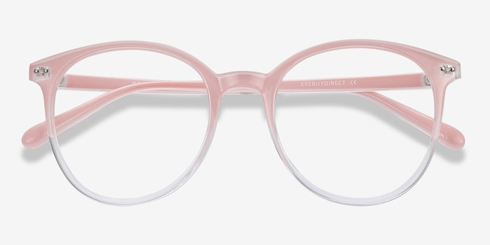 Noun Pink Plastic Eyeglass Frames from EyeBuyDirect, Closed View