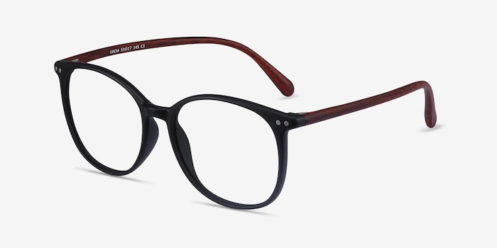 Lucia Matte Black Plastic Eyeglass Frames from EyeBuyDirect, Angle View