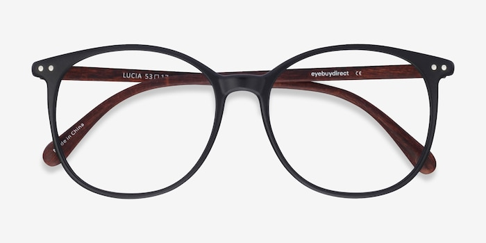 Lucia Matte Black Plastic Eyeglass Frames from EyeBuyDirect, Closed View