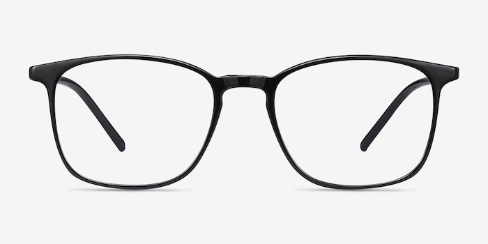 Trenton Black Plastic Eyeglass Frames from EyeBuyDirect, Front View