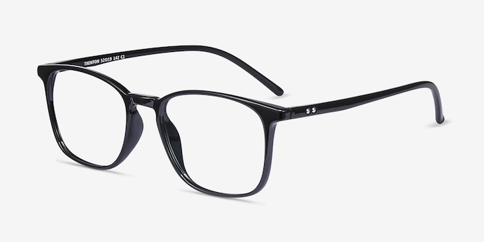 Trenton Black Plastic Eyeglass Frames from EyeBuyDirect, Angle View