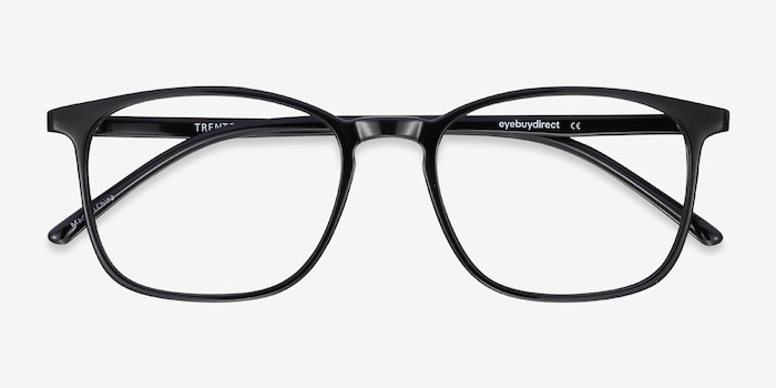 Trenton Black Plastic Eyeglass Frames from EyeBuyDirect, Closed View