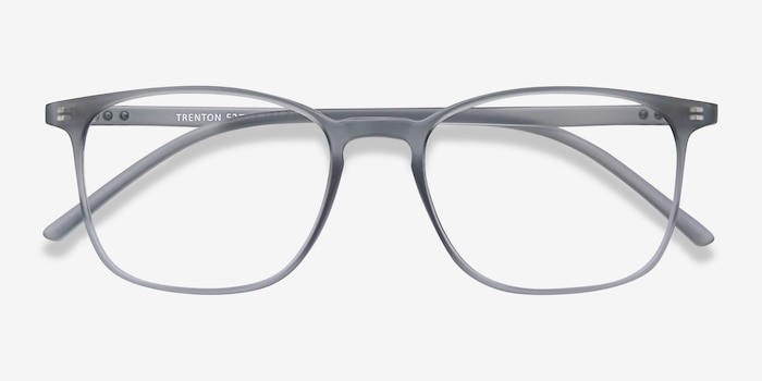 Trenton Gray Plastic Eyeglass Frames from EyeBuyDirect, Closed View