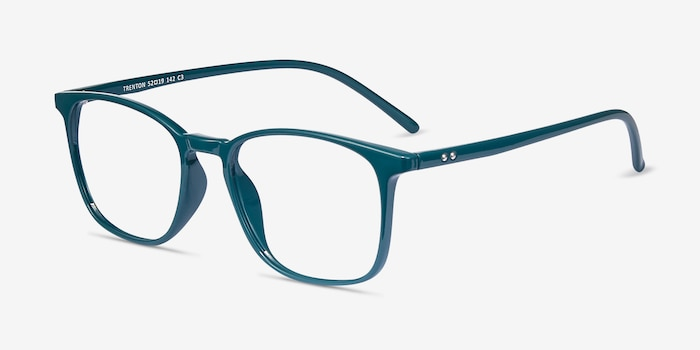 Trenton Green Plastic Eyeglass Frames from EyeBuyDirect, Angle View