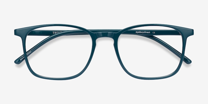 Trenton Green Plastic Eyeglass Frames from EyeBuyDirect, Closed View
