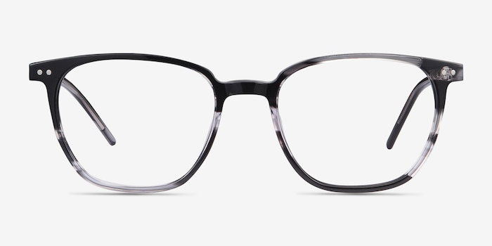 Regalia Gray Striped Acetate Eyeglass Frames from EyeBuyDirect, Front View