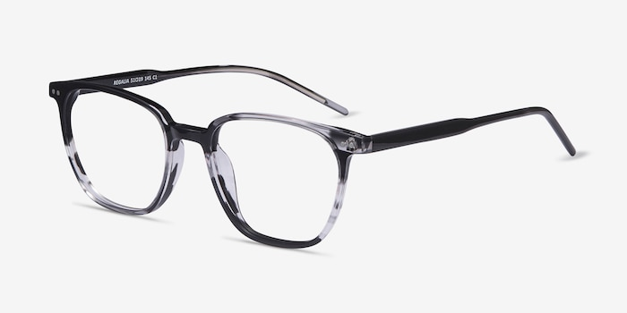 Regalia Gray Striped Acetate Eyeglass Frames from EyeBuyDirect, Angle View