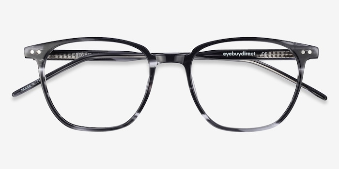 Regalia Gray Striped Acetate Eyeglass Frames from EyeBuyDirect, Closed View