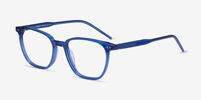 Regalia Bleu Acétate Montures de Lunettes d'EyeBuyDirect, Vue d'Angle