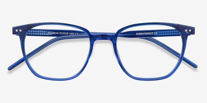 Regalia Blue Acetate Eyeglass Frames from EyeBuyDirect, Closed View
