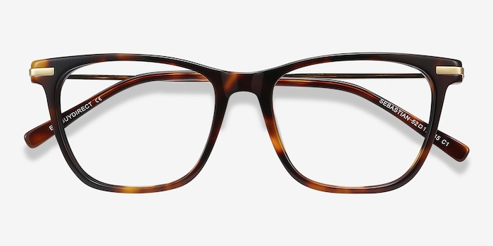 Sebastian Tortoise Acetate Eyeglass Frames from EyeBuyDirect, Closed View
