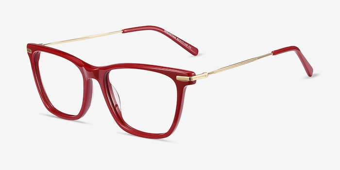 Sebastian Burgundy Acetate-metal Eyeglass Frames from EyeBuyDirect, Angle View
