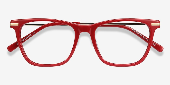 Sebastian Burgundy Acetate-metal Eyeglass Frames from EyeBuyDirect, Closed View