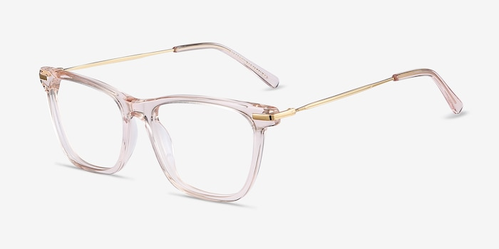 Sebastian Rose Gold Metal Eyeglass Frames from EyeBuyDirect, Angle View
