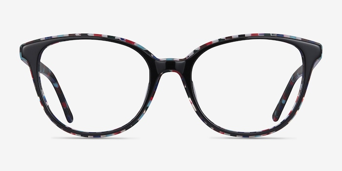 Pixels Black Floral Acetate Eyeglass Frames from EyeBuyDirect, Front View