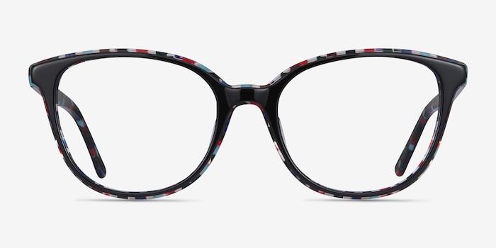 Pixels Black Floral Acétate Montures de Lunettes d'EyeBuyDirect, Vue de Face