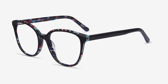 Pixels Black Floral Acetate Eyeglass Frames from EyeBuyDirect, Angle View