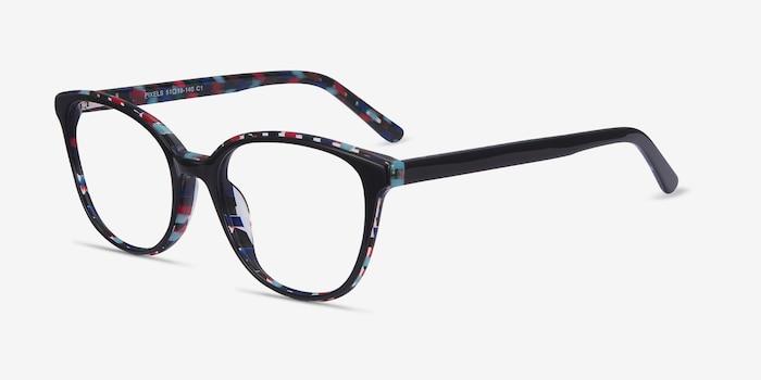 Pixels Black Floral Acétate Montures de Lunettes d'EyeBuyDirect, Vue d'Angle