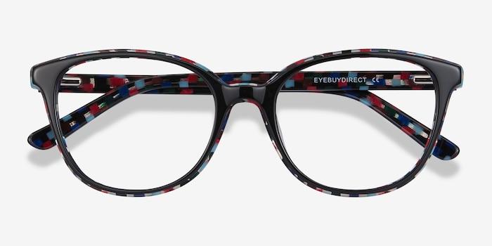 Pixels Black Floral Acétate Montures de Lunettes d'EyeBuyDirect, Vue Rapprochée