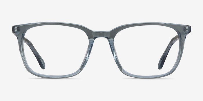 Etched Clear Blue Acetate Eyeglass Frames from EyeBuyDirect, Front View