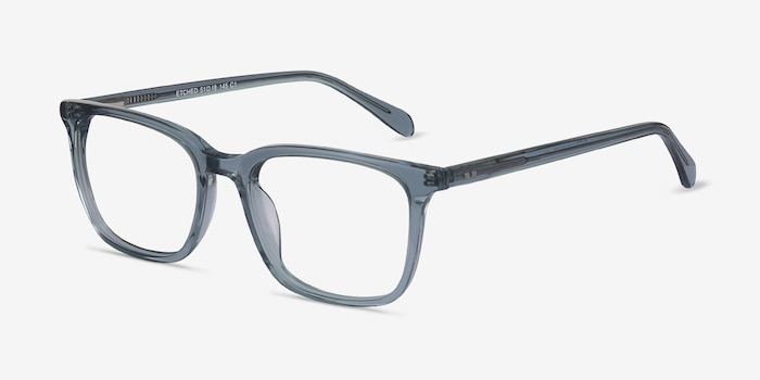 Etched Clear Blue Acetate Eyeglass Frames from EyeBuyDirect, Angle View