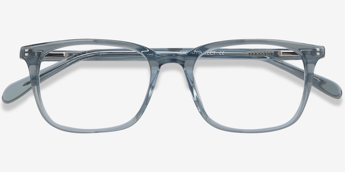 Etched Clear Blue Acetate Eyeglass Frames from EyeBuyDirect, Closed View