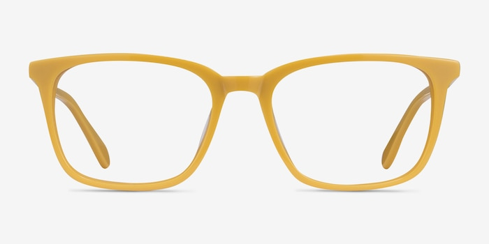Etched Yellow Acetate Eyeglass Frames from EyeBuyDirect, Front View